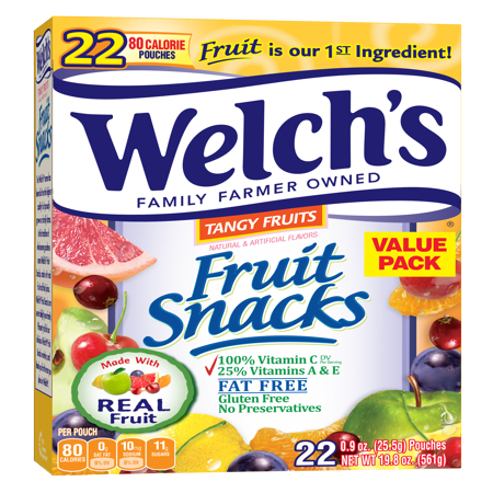 (2 Pack) Welch's Fruit Snacks, Tangy Fruits, 0.9 Oz, 22 Ct - Halloween Fruit Snacks