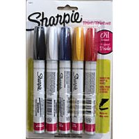 Sharpie Oil-Based Paint Markers, Fine Point, Assorted Colors, 5 Pack