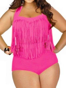c89d31b590 Product Image LELINTA Women s Two Piece Braided Fringe Top High Waist  Bottoms Bikini Set Swimwear Plus Size Swimsuit