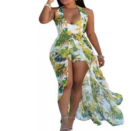 Summer Women Beach Sexy Jumpsuit Flower Print Halter Neck Romper Unique Long Dress Skirt ()
