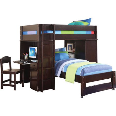 Acme Lars Twin Loft Bed With Chair Amp Twin Bed Wenge