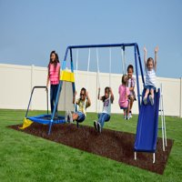 Sportspower Almansor Metal Swing Set with Slide and Trampoline