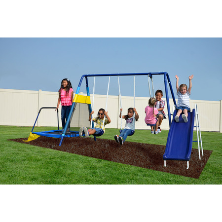Sportspower Almansor Metal Swing Set with Glide Ride, Trampoline, and 6ft Heavy Duty Slide