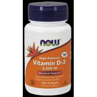 NOW Vitamin D-3 2000 IU Softgels, 240 Ct