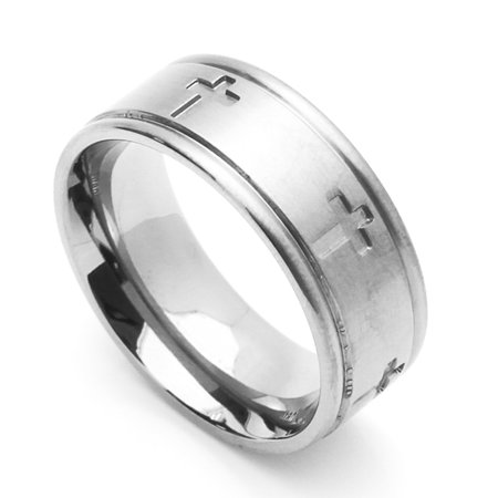 Men Women 8MM Comfort Fit Stainless Steel Wedding Band Cross Ring (Size 6 to 14)