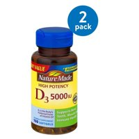 (2 Pack) Nature Made D3 5000 IU High Potency Softgels Everyday Value, 100 count