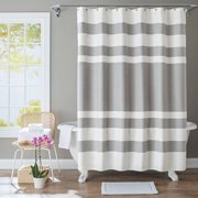 Better Homes Gardens Waffle Stripe Grey Shower Curtain