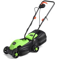 Costway 12 Amp 14-Inch Electric Push Lawn Corded Mower With Grass Bag Green
