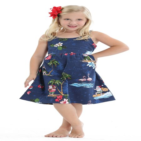 Hawaii Hangover Girl Elastic Strap Dress Christmas Dress Santa Navy 1-2](Kids Santa Dress)