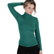 2da17d930d8 Women Stretch Long Sleeve Mock neck Turtleneck Top Slim Fit Tight Shirt