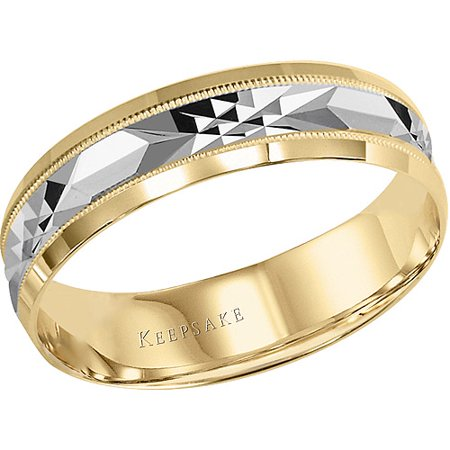 Chance Milgrain Engraved Wedding Band in 10kt Yellow Gold