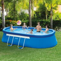 """Intex 18' x 10' x 42"""" Oval Frame Above Ground Swimming Pool with Filter Pump"""