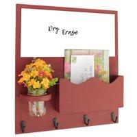 Mail Organizer with Whiteboard, One Large Magazine / Mail Slot, Key Hooks & Mason Jar