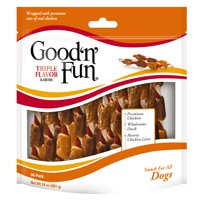 Good'N'Fun Triple Flavored Kabobs Rawhide Chews for Dogs, 36-Count