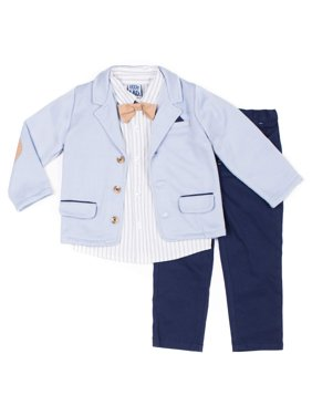 Short Sleeve Stripe Poplin Button Up Shirt, Peached Twilled Pants, Bowtie & Marled French Terry Blazer, 4pc Dressy Set (Baby Boys)