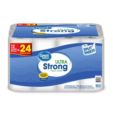 Great Value Ultra Strong Paper Towels, Split Sheet, 12 Double Rolls](Halloween Crafts With Paper Towel Rolls)