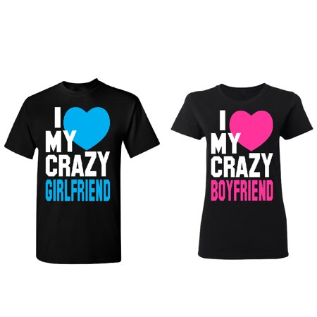 Crazy Girlfriend - Boyfriend Couple Matching T-shirt Set Valentines Anniversary Christmas Gift Men Small Women Small