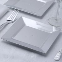 """Efavormart 48 Pack 6.5"""" Sparkling Silver Square Disposable Partytown Plastic Plates For Wedding Birthday Party Dance Banquet Event"""