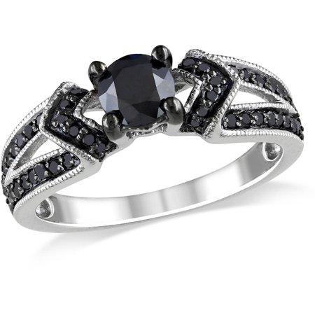1 Carat T.W. Black Diamond Sterling Silver Engagement (1 Carat Black And White Diamond Ring)