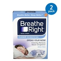 (2 Pack) Breathe Right Clear for Sensitive Skin Small/Medium Drug-Free Nasal Strips for Nasal Congestion Relief, 30 count