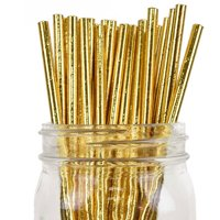 Just Artifacts Decorative Solid Paper Straws (100pcs, Solid, Metallic Gold)