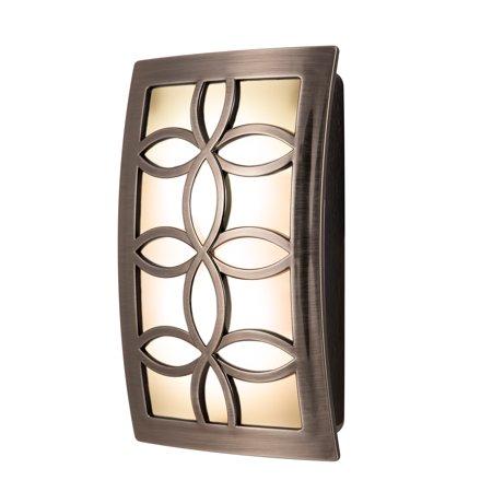GE CoverLite LED Plug-In Night Light, Leaves Design, Brushed Nickel, 11257