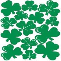"St Patricks Day Green Shamrocks Peel 'N Place Party Wall Clings 12-17"""