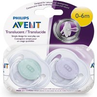 Philips Avent Orthodontic Translucent Pacifier, 0-6 Months [colors vary] 2 ea (Pack of 6)