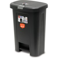 Hefty 10 Gal Wide Step On Textured Trash Can, Black with Silver Lid Lock