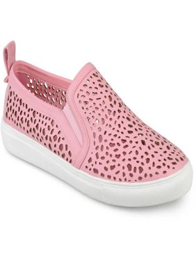 Womens Faux Leather Slip-on Laser-cut Sneakers