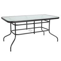 "Flash Furniture 31.5"" x 55"" Rectangular Tempered Glass Metal Table"