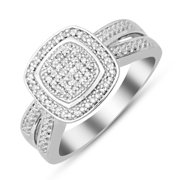 STERLING SILVER 1/10 CARAT DIAMOND PAVE CUSHION RING