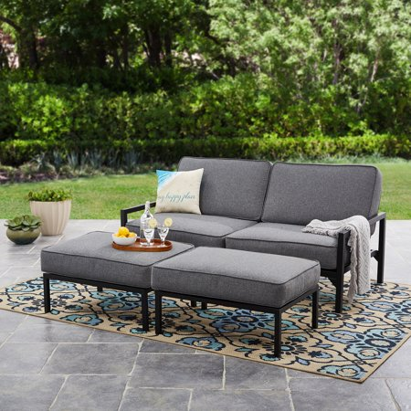Mainstays Moss Falls 3pc Outdoor Sofa-Daybed Set - Grey ... on Black Garden Sofa Set id=61077