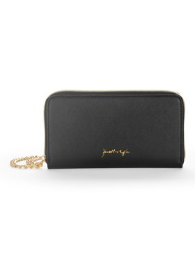 Kendall + Kylie for Walmart Women's Black Faux Saffiano Leather Large Wallet