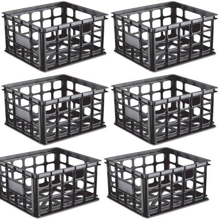Sterilite Plastic Black Storage Box Milk Crate Containers Home (6 Pack)