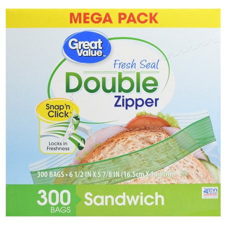 Great Value Double Zipper Sandwich Bags, 300 Count 1 Quart Zip Top Bag