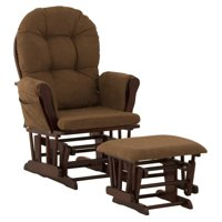Storkcraft Hoop Glider and Ottoman Black with Chocolate Cushions