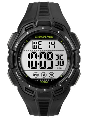 Men's Digital Full-Size Watch, Black Resin Strap