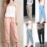 2494276607 Linen Pant Casual Womens Elastic Waist Ninth Pants Trousers Summer Wide Leg  Pants for Women Large