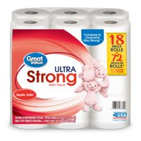 Great Value Ultra Strong Toilet Paper, 18 Mega Rolls