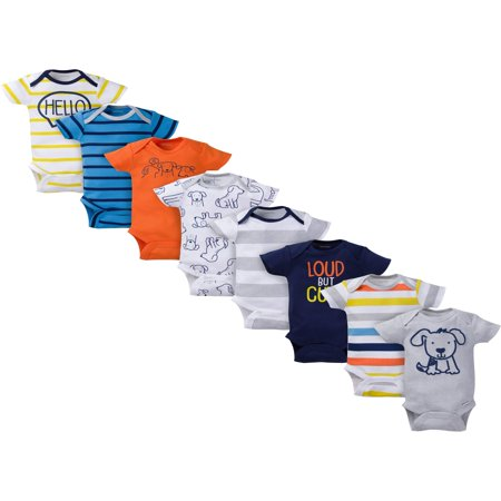 Assorted Short Sleeve Bodysuits Set, 8pk (Baby Boy)](Mens Body Suit)