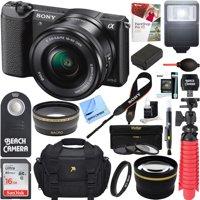 Sony Alpha a5100 HD 1080p Mirrorless Digital Camera Black + 16-50mm Lens Kit + 16GB Accessory Bundle + DSLR Photo Bag + Extra Battery + Wide Angle Lens + 2x Telephoto Lens + Flash + Remote + Tripod