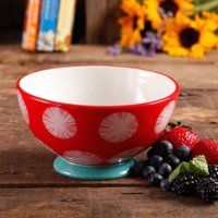 """The Pioneer Woman Flea Market 6"""" Decorated Footed Bowls, Red Dot Teal"""