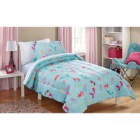 Mainstays Kids Mint Mermaid Bed in a Bag Complete Bedding Set
