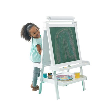 KidKraft Deluxe Wood Easel, White with a Paper Roll, Anti-Spill Paint Cups, a Chalkboard, a Whiteboard and Trays](Wood Easel)