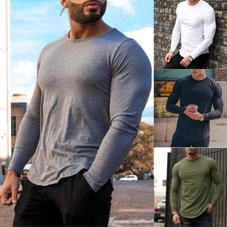 Bodybuilding Men's Long Sleeve T-shirt Slim Muscle Tops Fitness Gym Workout Tee - Muscle T Shirts