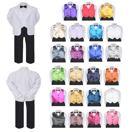 7pc Boy Formal Black & White Suit Tux Set Satin Bow Tie & Vest Baby Sm-20 (Lilac Stripe Suit)