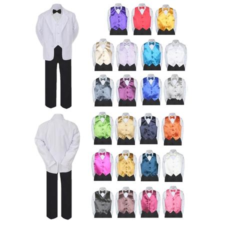 7pc Boy Formal Black & White Suit Tux Set Satin Bow Tie & Vest Baby Sm-20 Teen Cute White Baby Cloth