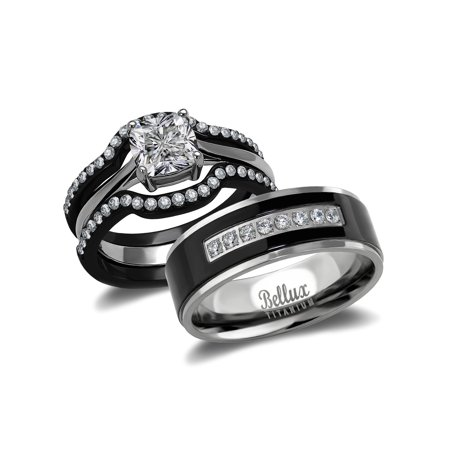 Bellux Style His And Hers Wedding Ring Sets Black Stainless Steel