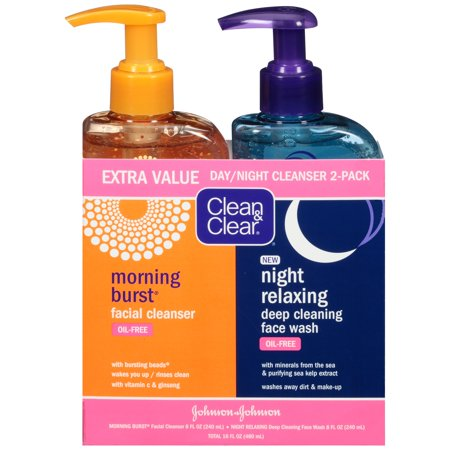 - Clean & Clear 2-Pack Day & Night Face Wash, Oil-Free & Hypoallergenic
